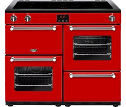 BELLING Kensington 100Ei Electric Induction Range Cooker - Red & Chrome Best Price, Cheapest Prices