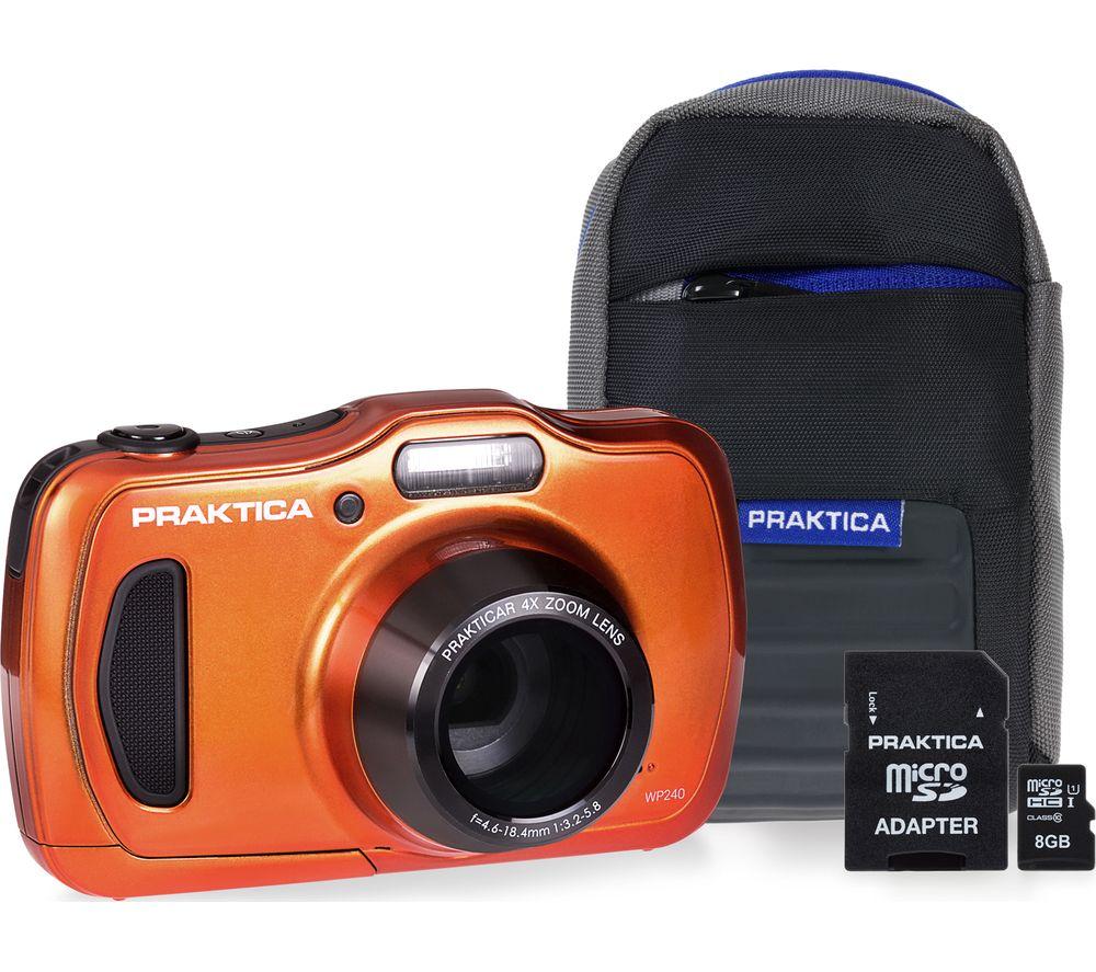 PRAKTICA Luxmedia WP240 Compact Camera & Accessories Bundle - Orange