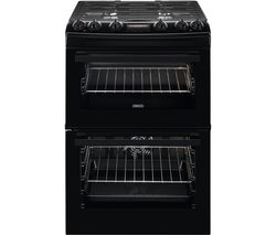 ZANUSSI ZCK66350BA 60 cm Dual Fuel Cooker - Black Best Price, Cheapest Prices