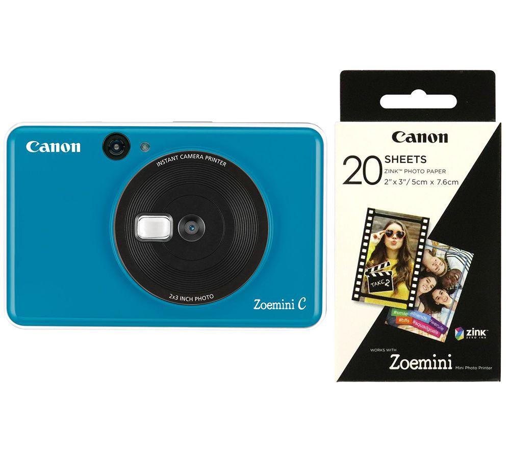 """CANON Zoemini C Instant Camera & Zoemini 2 x 3"""" Glossy Photo Paper Bundle - Blue"""