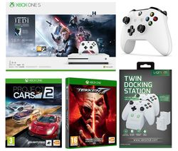 MICROSOFT Xbox One S, Star Wars Jedi: Fallen Order Deluxe Edition, Tekken 7, Projects Cars 2, Wireless Controller & Docking Station Bundle