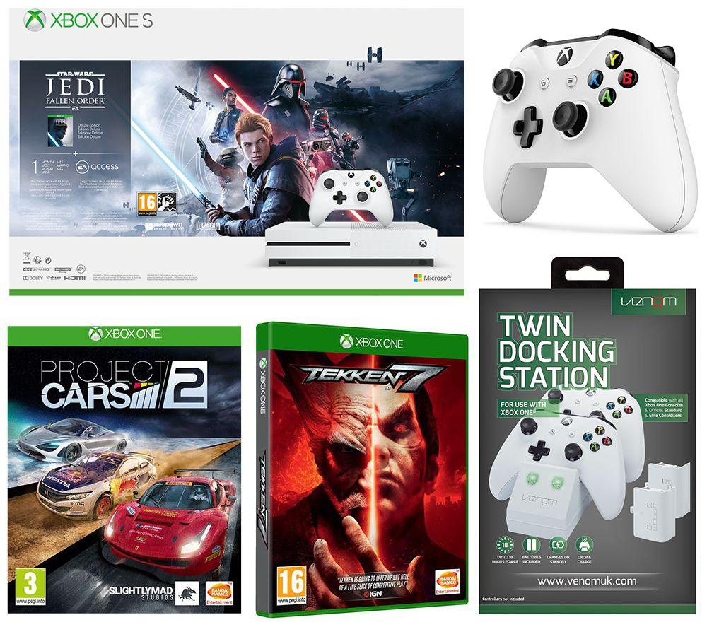 MICROSOFT Xbox One S, Star Wars Jedi: Fallen Order Deluxe Edition, Tekken 7, Projects Cars 2, Wireless Controller & Docking Station Bundle