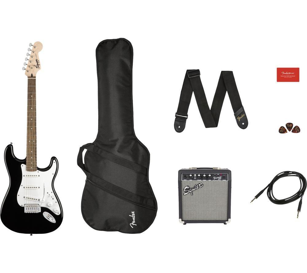 FENDER Squier Stratocaster Electric Guitar Bundle - Black & White