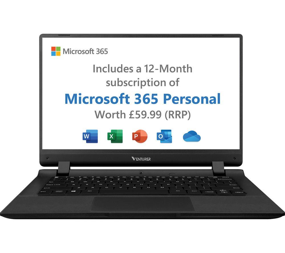 "VENTURER Europa 14 Plus 14"" Laptop - Intel®Celeron™, 64 GB SSD, Black, Black"