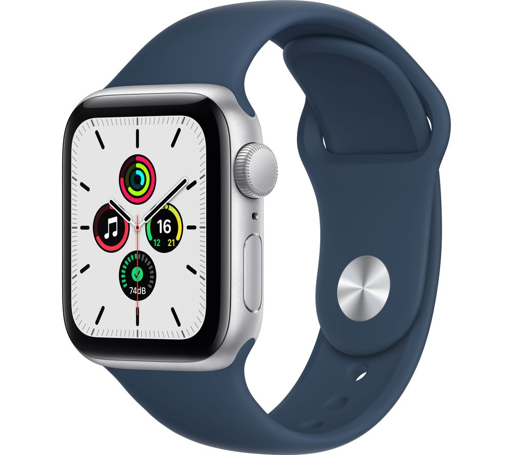 APPLE Watch SE - Silver with Abyss Blue Sports Band, 40 mm