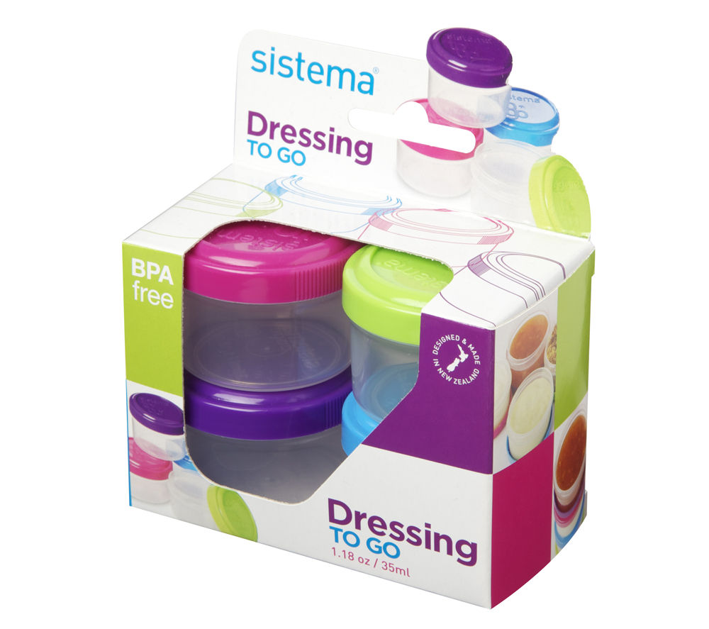 Image of SISTEMA Round 0.35-litres Dressing Pots - Pack of 4, Pink