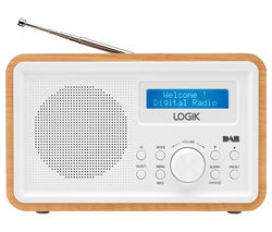 LOGIK LHDR15 Portable DAB/FM Clock Radio - Light Wood & White