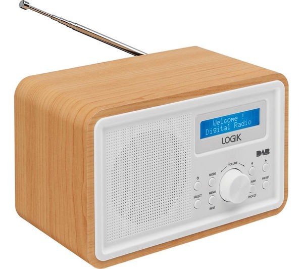 buy logik lhdr15 portable dab fm clock radio light wood white free delivery currys. Black Bedroom Furniture Sets. Home Design Ideas