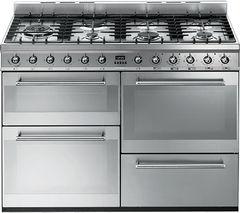 SMEG Symphony SYD4110 110 cm Dual Fuel Range Cooker - Stainless Steel
