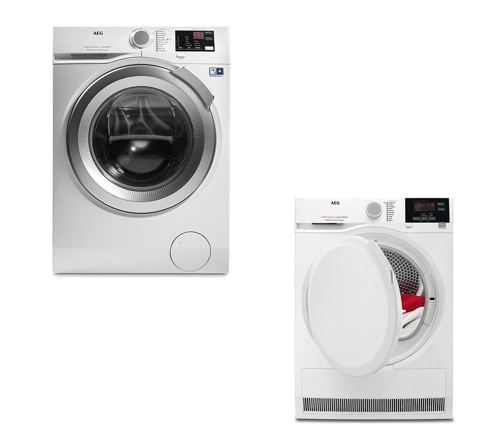 AEG ProSense T6DBG820N Condenser Tumble Dryer & 8 kg 1400 Spin Washing Machine Bundle
