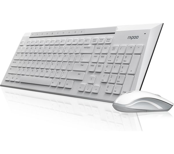 30abc91e076 RAPOO 8200P Wireless Keyboard & Mouse Set - White Deals | PC World