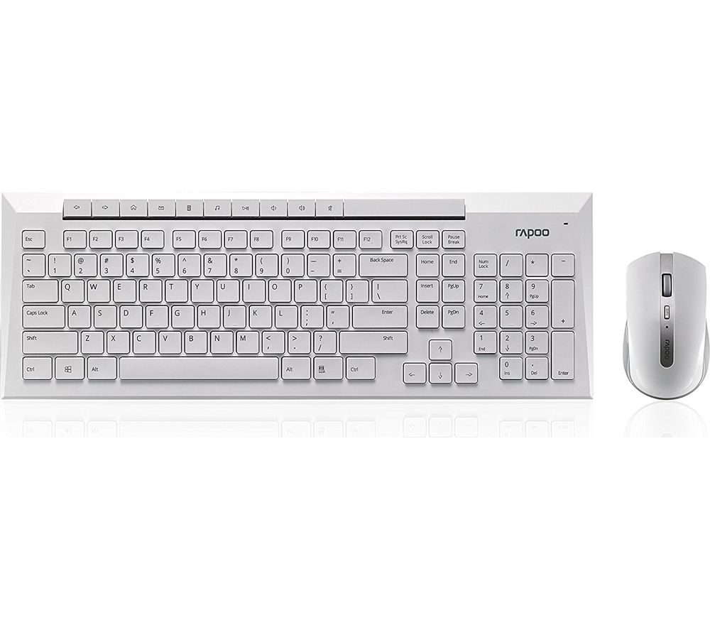 Image of RAPOO 8200P Wireless Keyboard & Mouse Set - White, White