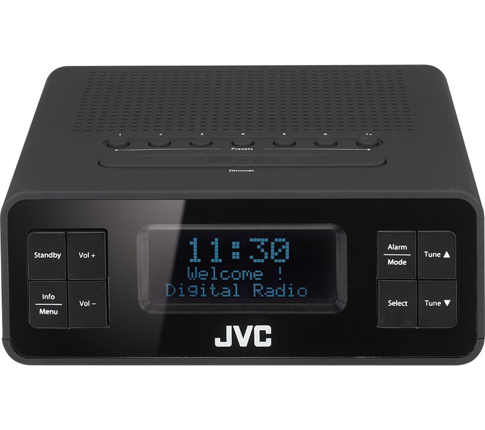 Image of JVC RA-D38-B DAB/FM Clock Radio - Black, Black