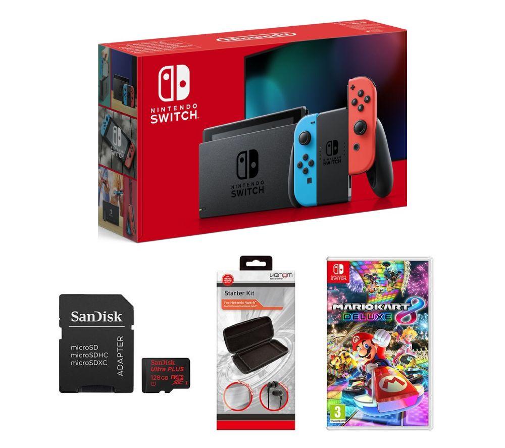 NINTENDO Switch Neon Red, Mario Kart 8, 128 GB Memory Card & Starter Kit Bundle