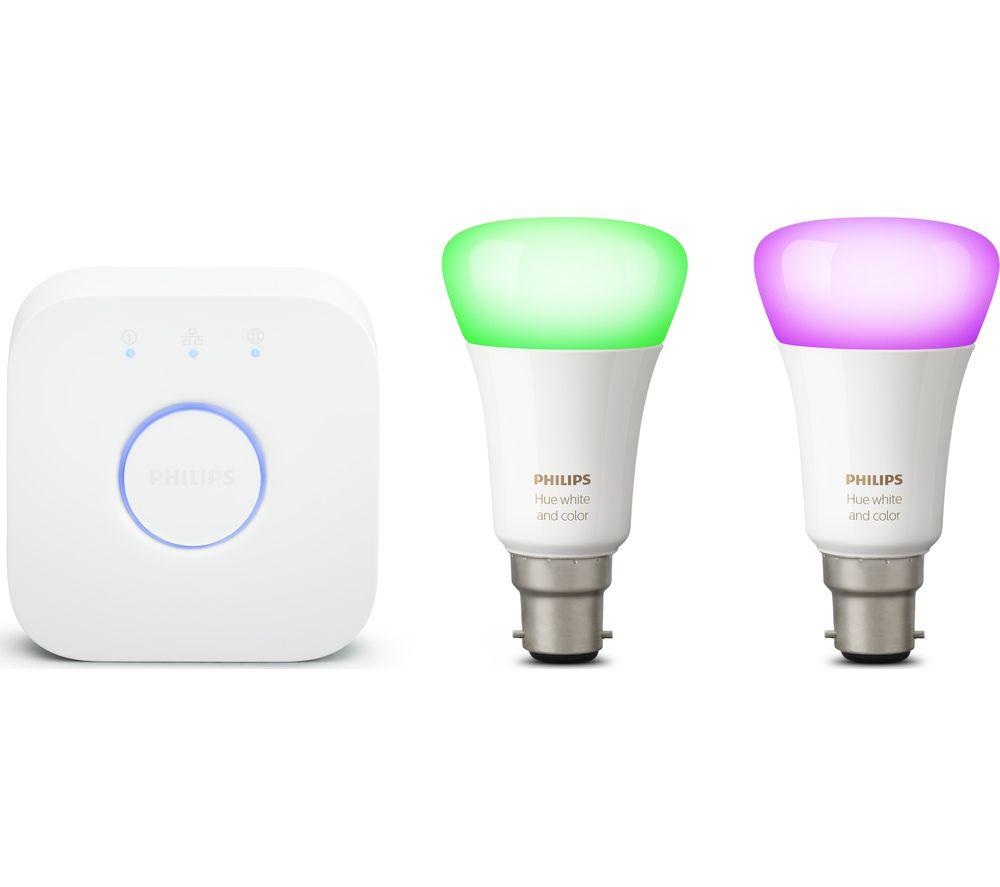 PHILIPS HUE White & Colour Ambience Smart Lighting Starter Kit with Bridge - B22