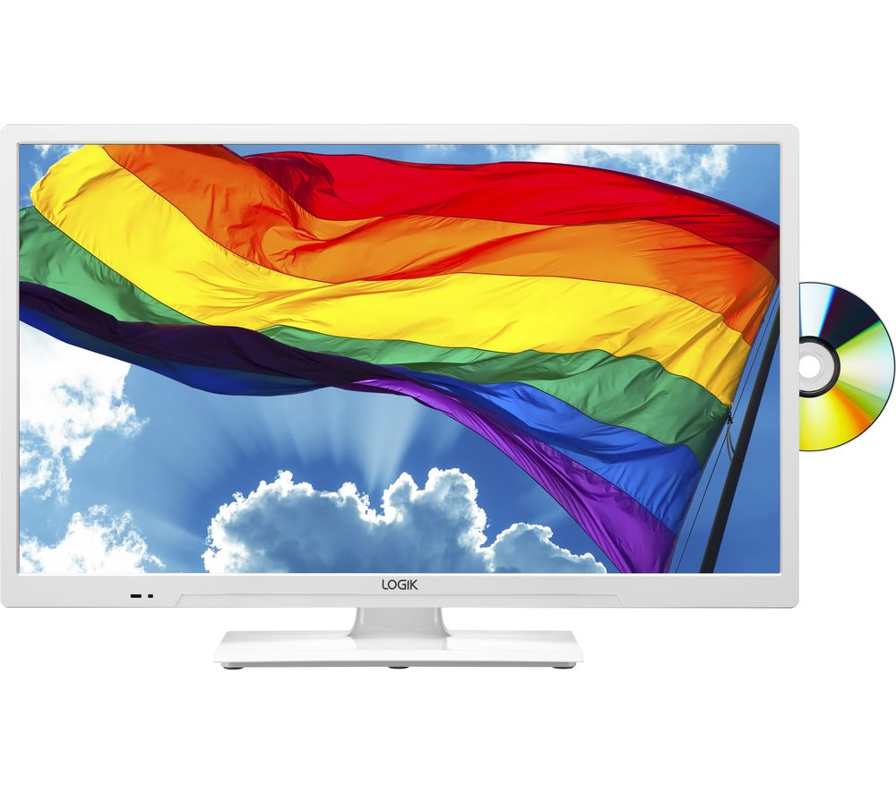 "Image of 24"" LOGIK L24HEDW19 HD Ready LED TV with Built-in DVD Player - White, White"