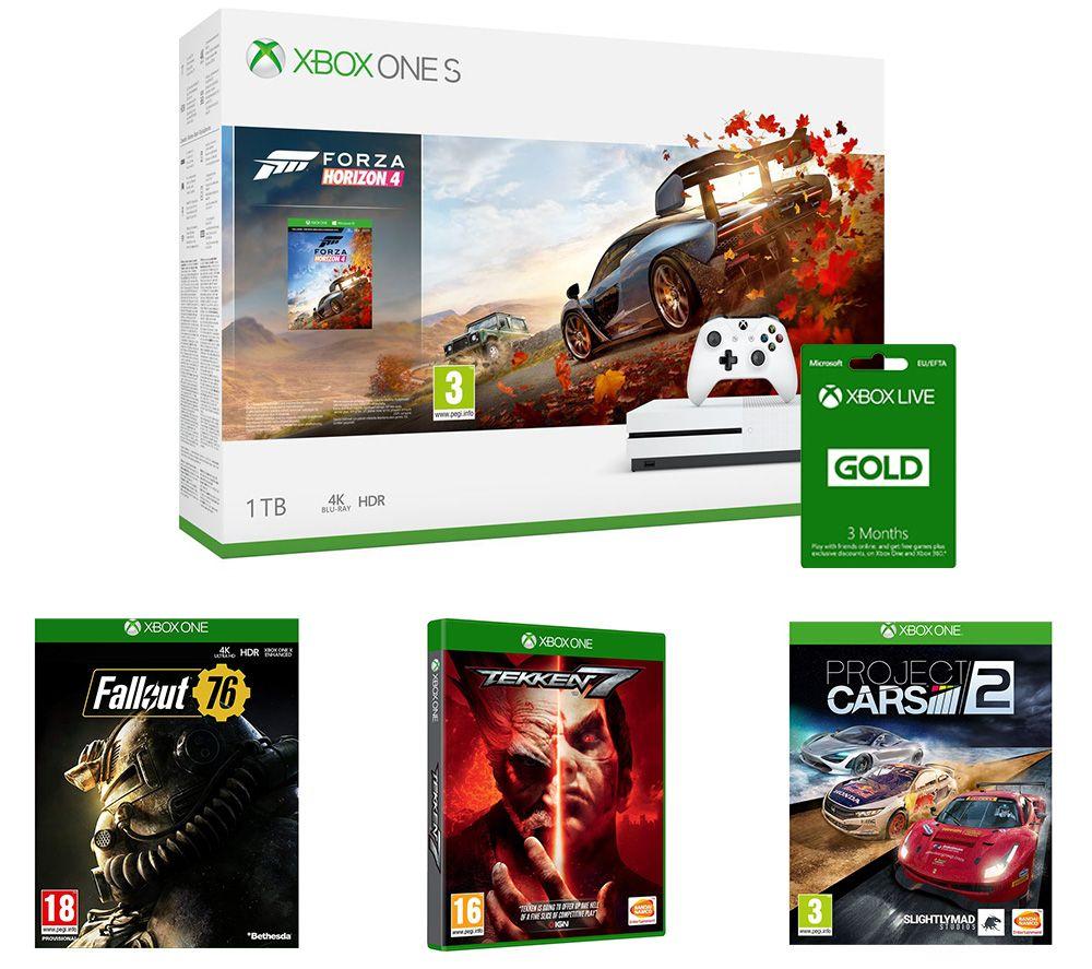 MICROSOFT Xbox One S, Forza Horizon 4, Project Cars 2, Tekken 7, Fallout 76 & LIVE Gold 3 Month Subscription Bundle