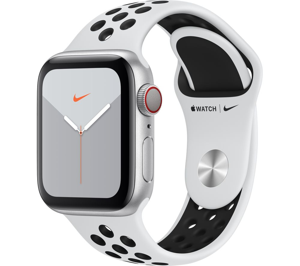APPLE Watch Series 5 Cellular - Silver Aluminium with Platinum & Black Nike Sports Band, 40 mm