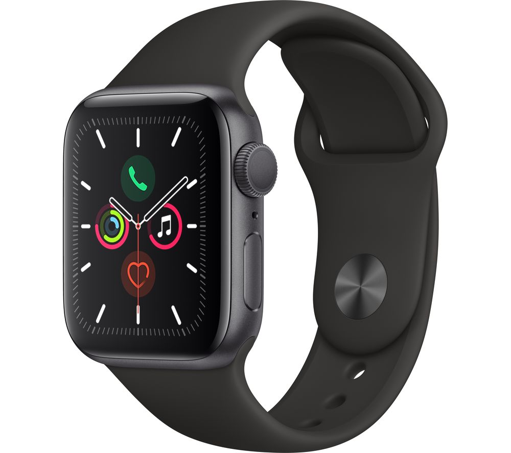 APPLE Watch Series 5 - Space Grey Aluminium with Black Sports Band, 44 mm