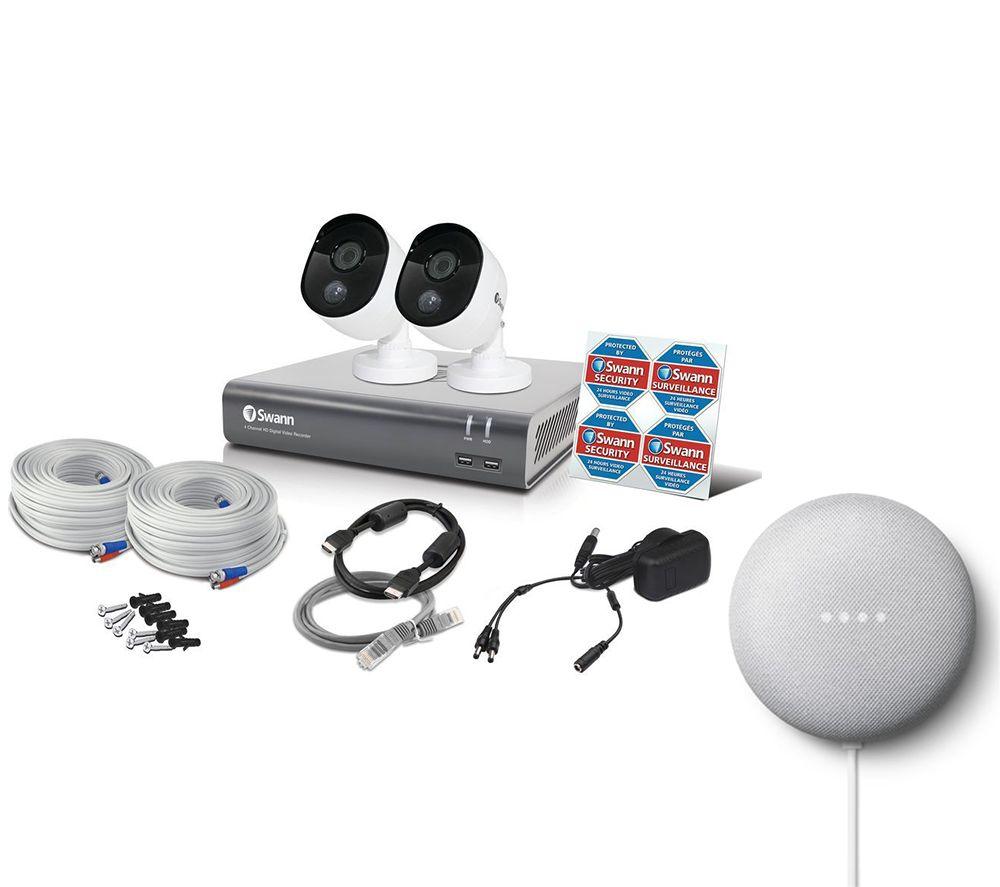 Image of SWANN SWDVK-445802V 4-Channel Full HD 1080p Smart Security System & Google Chalk Nest Mini (2nd Gen) Bundle - 1 TB, 2 Cameras