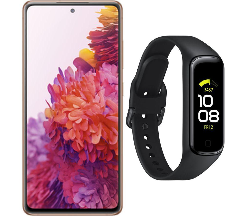 SAMSUNG Galaxy S20 FE (128 GB, Cloud Orange) & Galaxy Fit2 (Black, Universal) Bundle