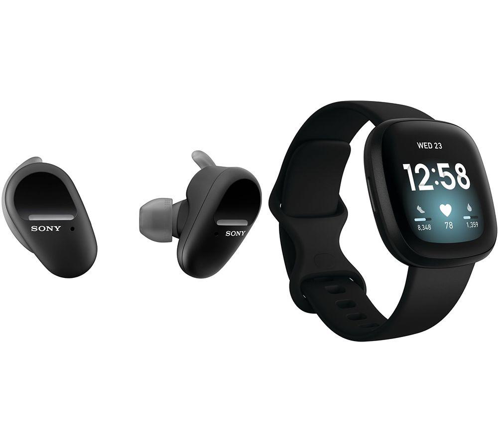 SONY WF-SP800N Wireless Sports Earbuds  & Fitbit Versa 3 Bundle