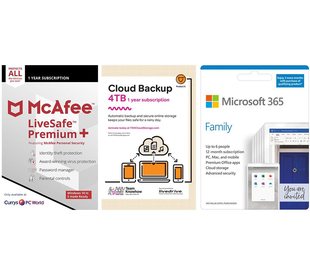 Image of MCAFEE LiveSafe Premium, Microsoft 365 Family & Knowhow 4 TB Cloud Backup Bundle - 1 year