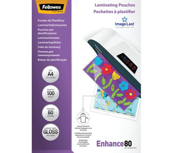 FELLOWES Enhance 80 Micron A4 Laminating Pouches - 100 Pack