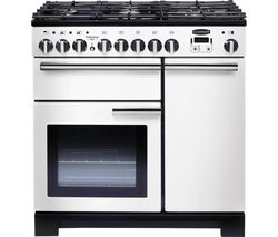 Professional Deluxe 90 Dual Fuel Range Cooker - White & Chrome
