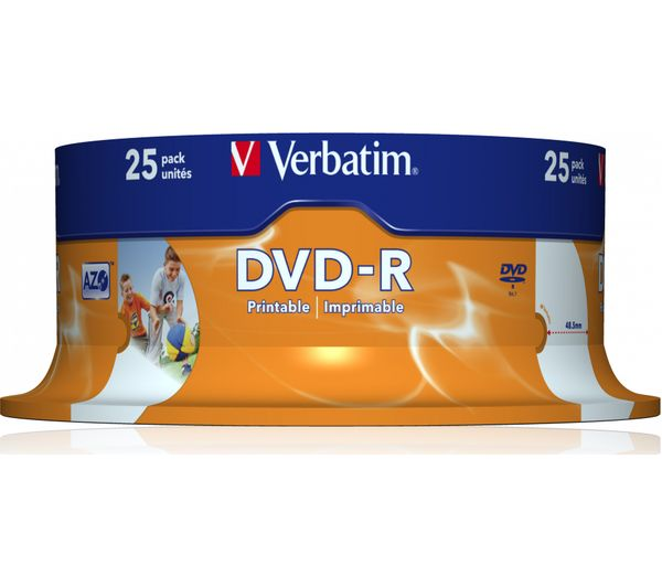picture about Printable Dvds identified as VERBATIM DVD-R 16x Photograph Printable DVDs - 25 Pack