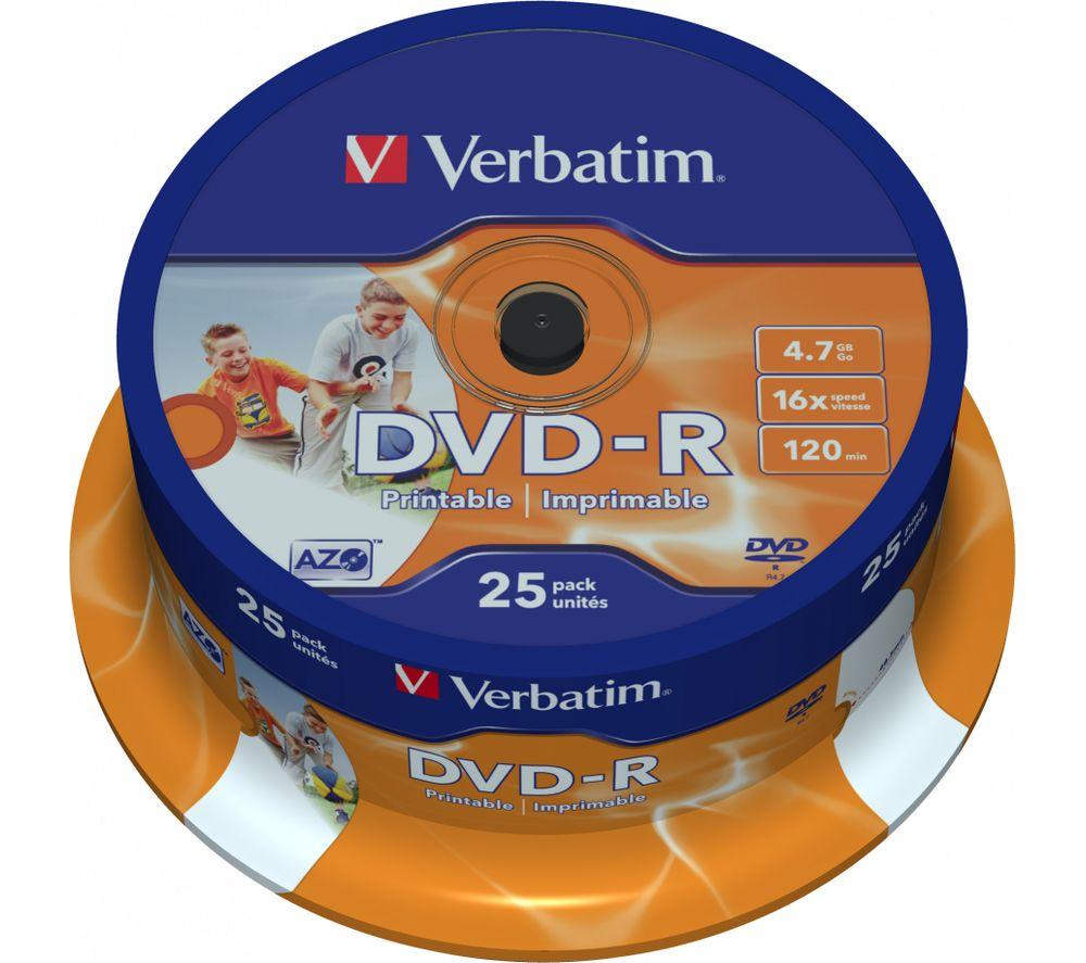 photo relating to Printable Dvds known as VERBATIM DVD-R 16x Image Printable DVDs - 25 Pack