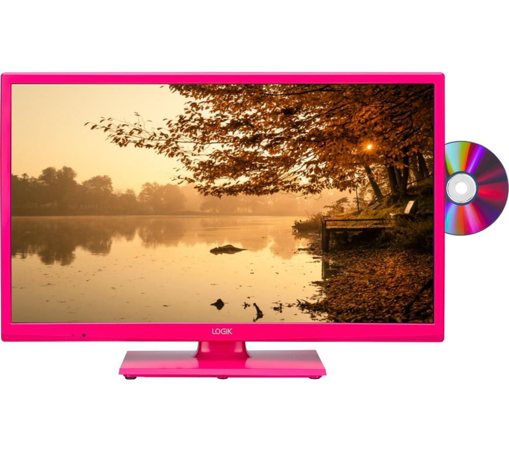 "LOGIK L24HEDP15 24"" LED TV with Built-in DVD Player - Pink + L2HDINT15 2 m HDMI Cable + LFMSKS16 Full Motion TV Bracket Starter Kit"