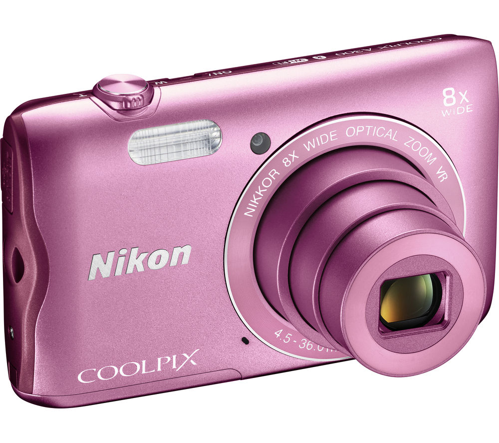 NIKON COOLPIX A300 Compact Camera - Pink + SWCOM13 Camera Case - Black + Extreme Plus Class 10 SD Memory Card - 16 GB, Twin Pack