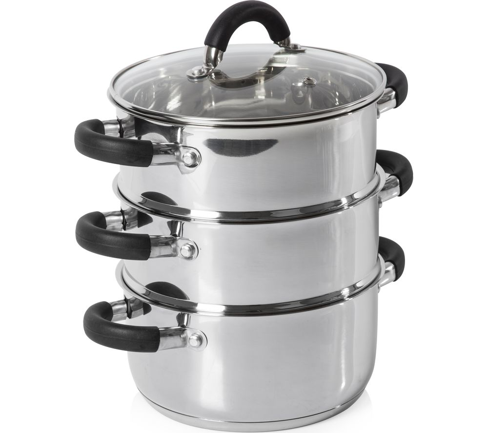 TOWER T80836 18 cm 3-tier Steamer - Stainless Steel