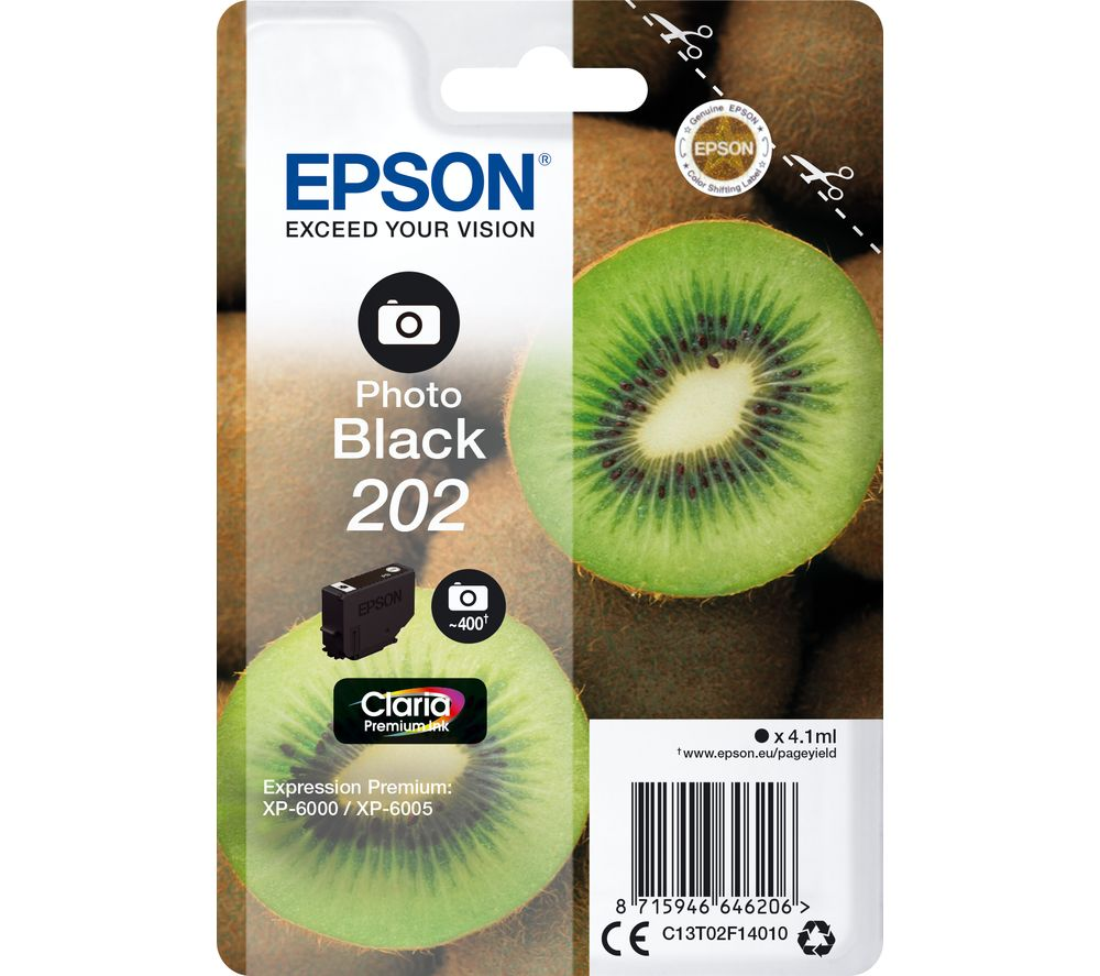 EPSON 202 Kiwi Photo Black Ink Cartridge, Black