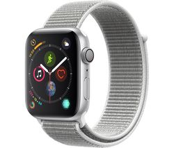 APPLE Watch Series 4 - Silver & Seashell Sports Loop, 44 mm