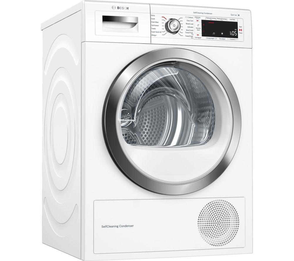 BOSCH Serie 8 WTWH7561GB Smart 9 kg Heat Pump Tumble Dryer - White