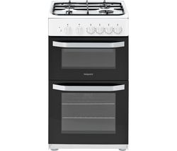 HOTPOINT HD5G00KCW 50 cm Gas Cooker - White Best Price, Cheapest Prices