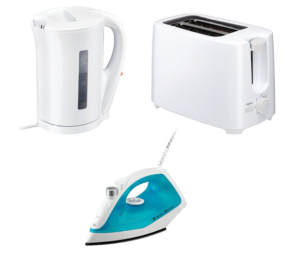ESSENTIALS C12IR13 Steam Iron, C17JKW17 Jug Kettle & C02TW17 2-Slice Toaster Bundle - White