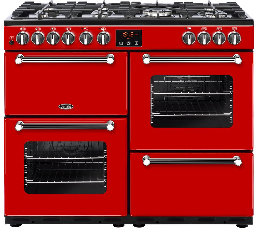 buy belling kensington 100dft dual fuel range cooker red. Black Bedroom Furniture Sets. Home Design Ideas