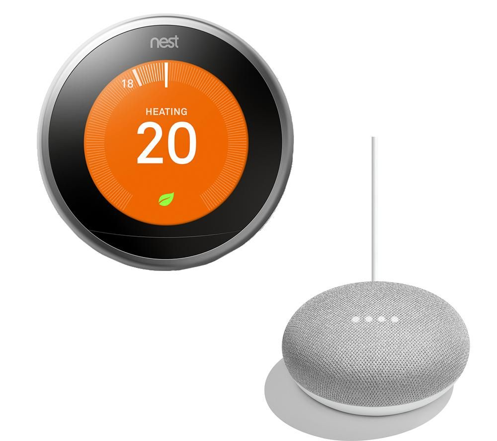 NEST Learning Thermostat & Home Mini Bundle, Silver