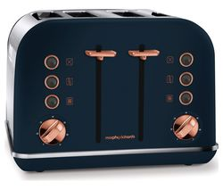MORPHY RICHARDS 242039 4-Slice Toaster - Midnight Blue & Rose Gold