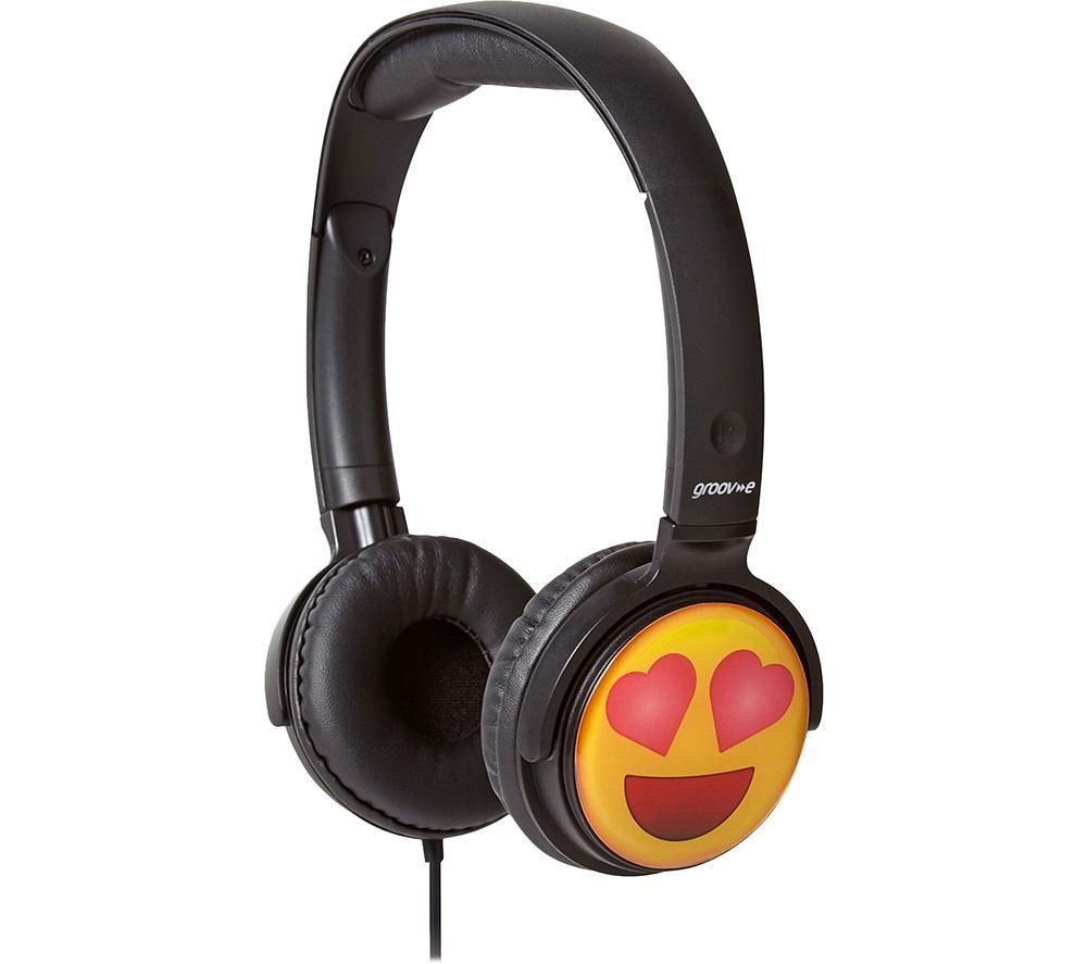 Image of GV-EMJ13 EarMOJI's Heart Eyes Face Kids Headphones - Black, Black