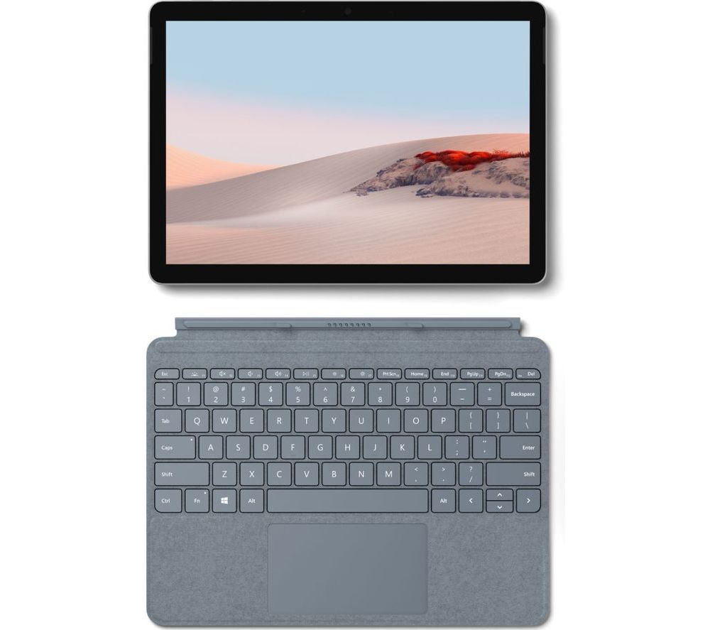 "Image of MICROSOFT 10.5"" Surface Go 2 128 GB & Typecover Bundle - Platinum & Ice Blue, Blue"