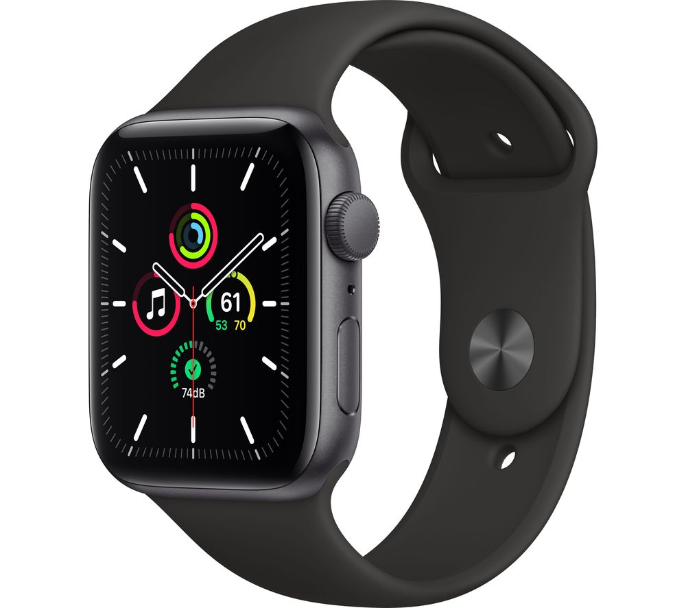 APPLE Watch SE - Space Grey Aluminium with Black Sports Band, 44 mm