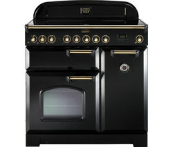 RANGEMASTER Classic Deluxe 90 Electric Induction Range Cooker - Black & Brass