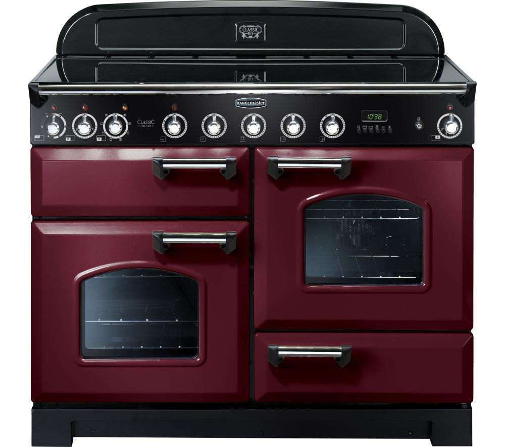 buy rangemaster classic deluxe 110 electric induction range cooker cranberry chrome free. Black Bedroom Furniture Sets. Home Design Ideas