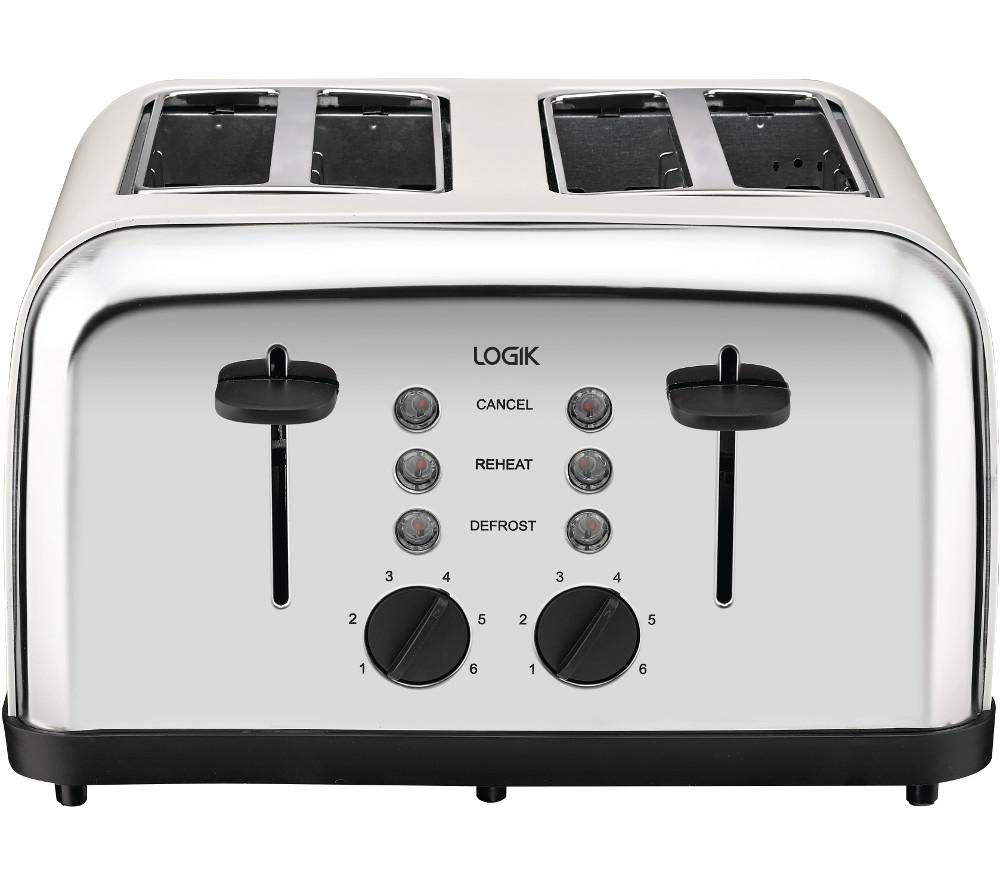 LOGIK L04TC14 4-Slice Toaster - Silver & Cream