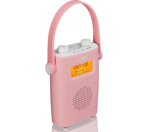 Jvc Ra D11 P Portable Dab Fm Bathroom Clock Radio Pink