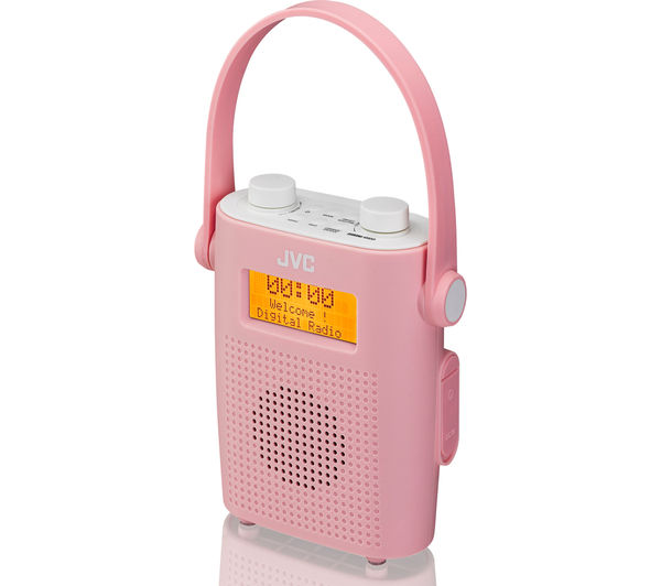 - JVC RA-D11-P Portable DAB/FM Bathroom Clock Radio - Pink ...